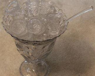 301 - Cambridge Wild Rose pressed glass punch set