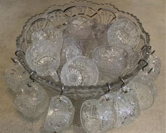 300 - Pressed glass punch bowl set
