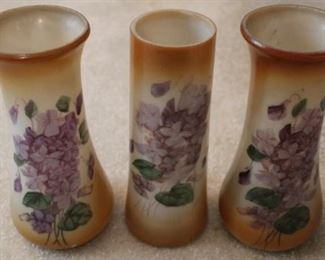 "320 - 3 Painted milk glass vases 8 1/4"" tall"