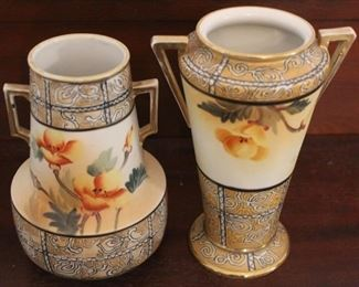 """324 - 2 Nippon hand painted vases 7"""" tall"""