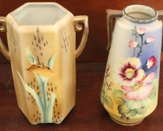 326 - 2 Nippon hand painted vases