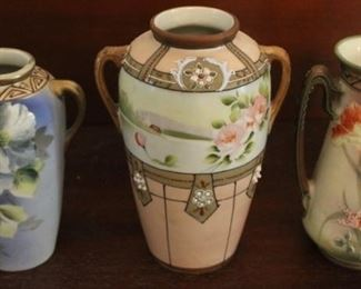 """335 - 3 Hand painted Nippon vases - 6"""" tall"""