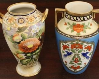 """340 - 2 Hand painted Nippon vases - 8"""" tall"""