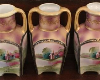 """344 - 3 Hand painted Nippon vases - 6"""" tall"""