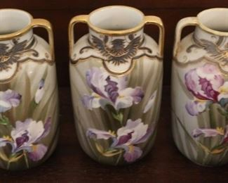 """345 - 3 Hand painted Nippon vases - 7"""" tall"""