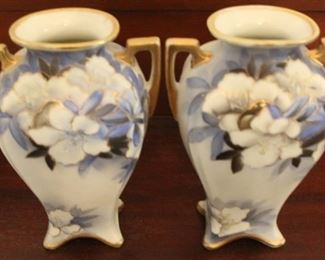 """347 - Pair hand painted Nippon vases - 7"""" tall"""