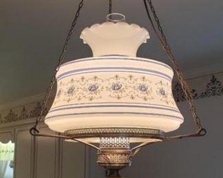 "356 - Vintage hanging light fixture 21"" tall"