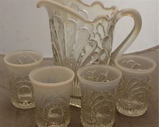 381 - Opalescent glass water set