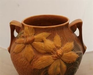 """385 - Roseville Clematis vase 9"""" tall chipped"""