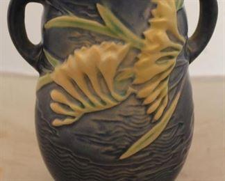 """386 - Roseville Freesia handled vase 7 1/2"""" tall"""