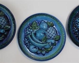 429 - Inarco Majolica Trompe L'Oeil Blue Mood Indigo Ceramic Fruit Plates Japan