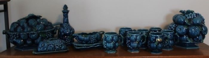 430 - Inarco Majolica Trompe L'Oeil Blue Mood Indigo Group of 14 items