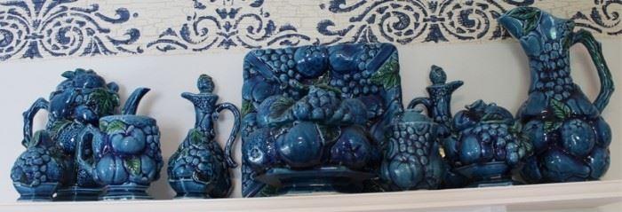 431 - Inarco Majolica Trompe L'Oeil Blue Mood Indigo Group of 11 items