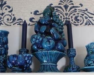 432 - Inarco Majolica Trompe L'Oeil Blue Mood Indigo Group of 12 items