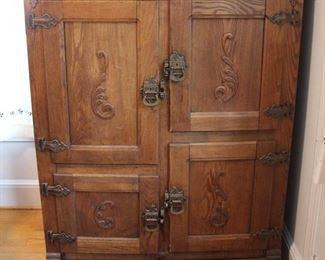 436 - Vintage oak 4 door icebox 54 x 42 x 24