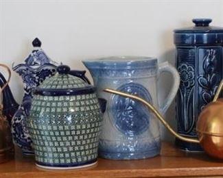 447 - Shelf lot w/ salt glaze pitcher