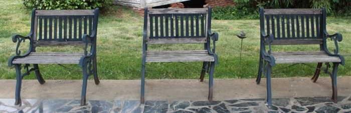 454 - 3 Matching outdoor benches/chairs 31 x 26 x 20