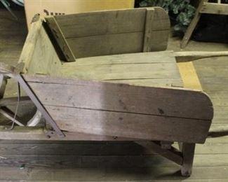 474 - Antique wood wheel wheelbarrow 30 x 66 x 24