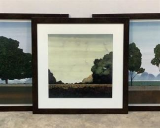"""Located in: Chattanooga, TN MFG Charon Prints (1) 34-1/2""""x34-1/2"""" Treeline I (2) 45-1/2""""x35-1/*2"""" Waiting Majestic & Waiting Six Trees **Sold as is Where is**"""