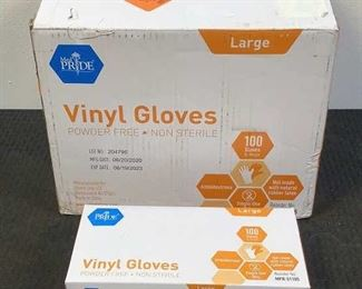 4 Image(s) Located in: Chattanooga, TN MFG Med Pride Large Vinyl Gloves Size Large 100 Per Box Powder Free- Non Sterile *Sold As Is Where Is*  SKU: V-6-B