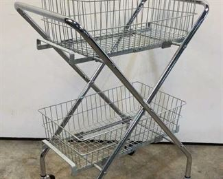 """Located in: Chattanooga, TN MFG Brewer Collapsible Basket Cart Size (WDH) 29""""Wx19-1/2""""Dx43""""H **Sold as is Where is**"""