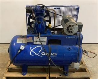 Buyer Premium 10% BP Ser# 20080419-0012 MFG Quincy Model QTS3QCB 30 Gallon Air Compressor Located in: Chattanooga, TN Powers On Motor Specs: Marathon Electric MN: FVB145TCDR5559AE P 115/208-230V - 60Hz - 1Ph *Does Not Hold Compression* **Sold As Is Where Is**  SKU: E-3-A