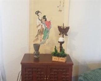 Asian inspired record cabinet and décor