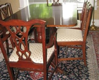 Dining table and chairs. (rug not for sale)