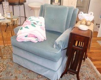 Ice Blue Velvet Chair