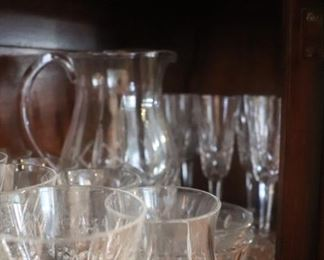 Waterford Crystal Champagne,  Pitcher, , Lismore Whiskey Tasting Footed Tumblers & Wine glasses