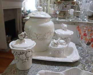 Platter & Creamer And Sugar Bowl Bella Casa By Ganz