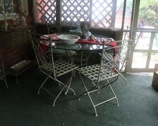 Vintage Folding Wrought Iron Garden Patio Set