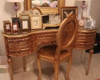 Vintage Gold Gilt Vanity Dressing Table with Chair