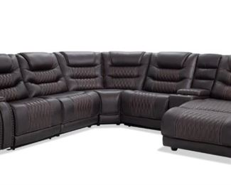 Power Reclining Left Arm Facing 6 Piece Leather Sectional