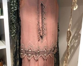 flapper dress - gorgeous and intact - 1920's vintage glamour Authentic 1920s Heavily Beaded Flapper Gown Art Deco Dress Pink