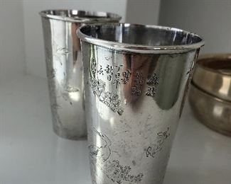 Chinese Antique Sterling antique cups, Tiffany sterling, etc