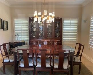 Rosewood inlay doning table 8 chairs with chna cabinet