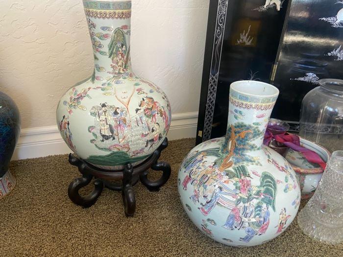 Pair Famille Rose large vases