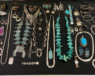 Beautiful selection of Vintage Mexican and Navajo sterling jewelry