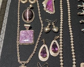 Collection of Amethyst pieces in sterling