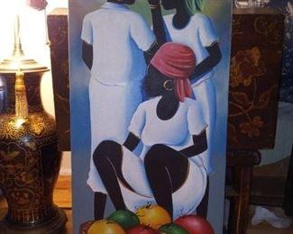 Oil painting Haitian. 12\30 in 150.00