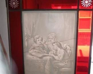 German lithopane stained glass 1900s. Small crack. 12\10 in. 250.00