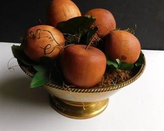 Brass Bowl w/Wood Apples