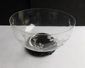 Etched Glass Bowl w/Wood Base