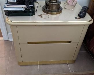 Vintage Lane Lacquer & Brass Nightstand