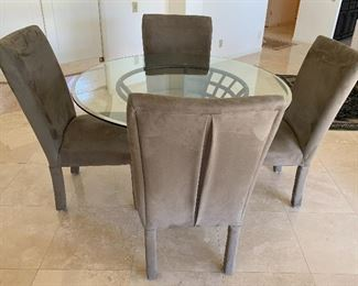 Glass Top Dining Table w 4 Suede Look Chairs