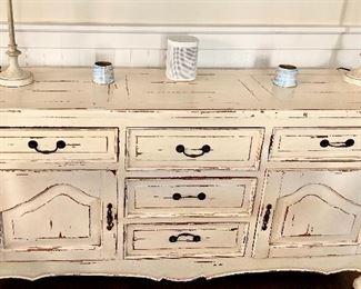 White distressed dresser