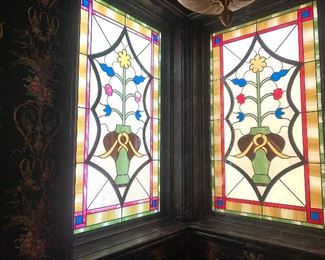 """2 stained glass windows 30"""" wide by 54"""" tall"""