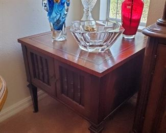 Pair 1960's leather inlay end table/cabinets.  Art glass.