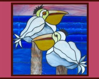 Fantastic Framed Stained Glass Pelicans